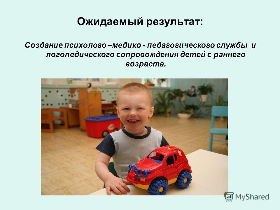 Ожидаемый результат: Создание психолого –медико - педагогического службы и логопедического сопровождения детей с раннего возраста.