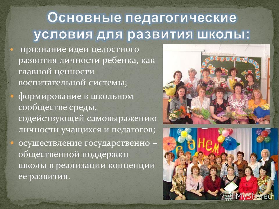 признание идеи целостного развития личности ребенка, как главной ценности воспитательной системы; формирование в школьном сообществе среды, содействующей самовыражению личности учащихся и педагогов; осуществление государственно – общественной поддерж
