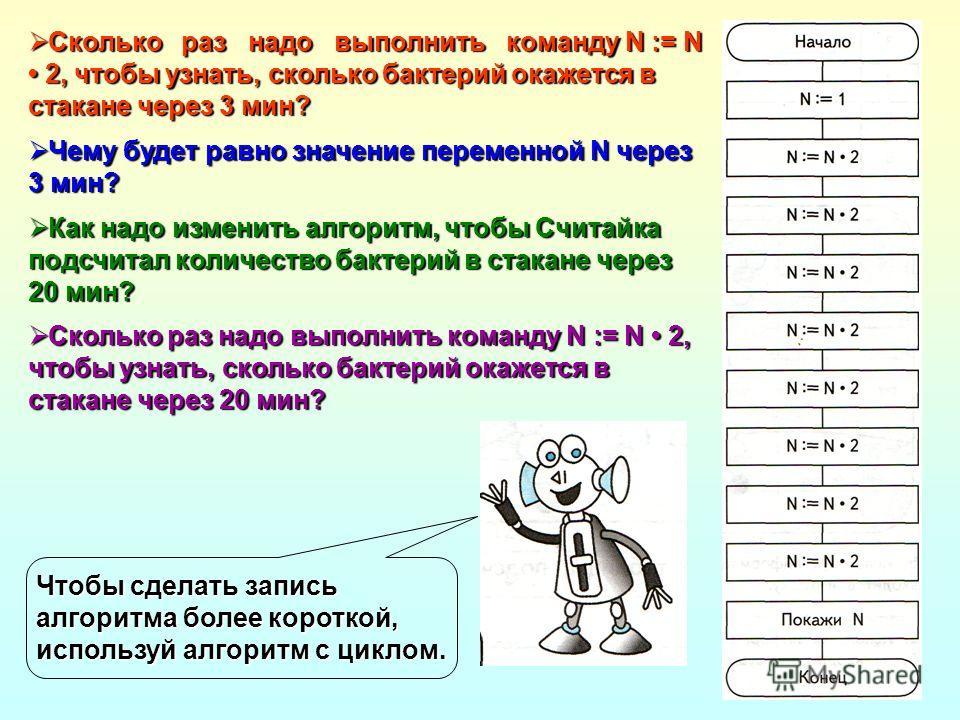 Сколько раз надо выполнить команду N := N 2, чтобы узнать, сколько бактерий окажется в стакане через 3 мин? Сколько раз надо выполнить команду N := N 2, чтобы узнать, сколько бактерий окажется в стакане через 3 мин? Чему будет равно значение переменн