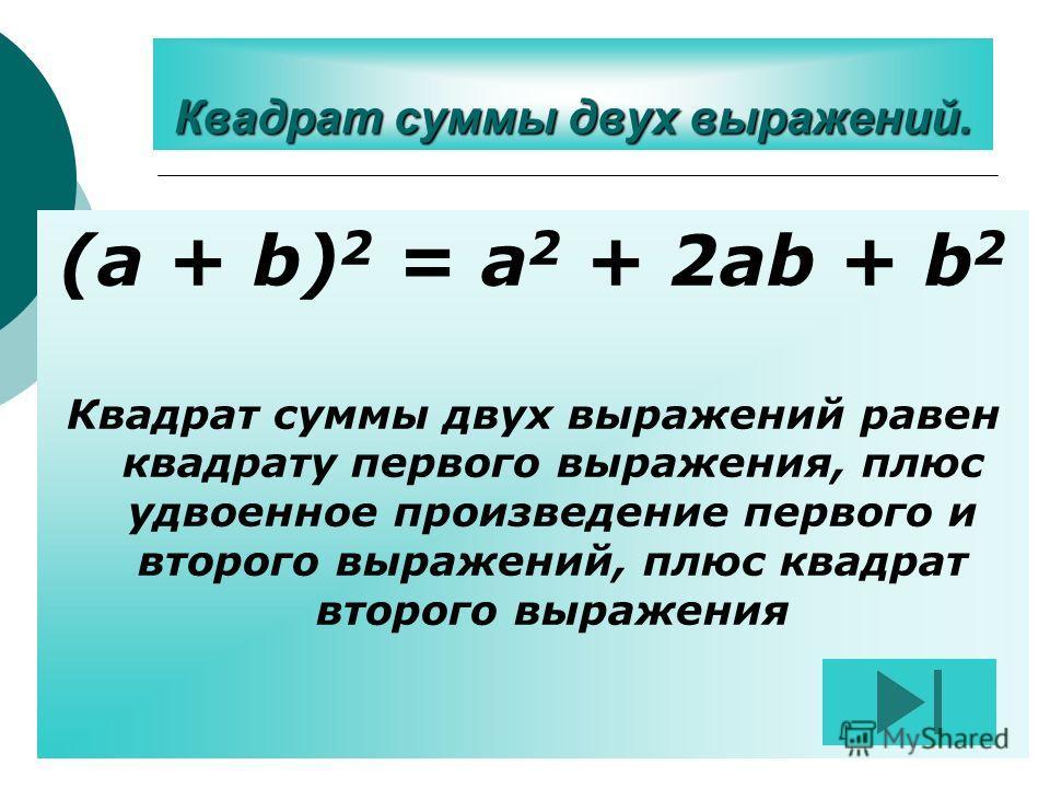 Квадрат суммы двух выражений. (a + b) 2 = a 2 + 2ab + b 2 Квадрат суммы двух выражений равен квадрату первого выражения, плюс удвоенное произведение первого и второго выражений, плюс квадрат второго выражения
