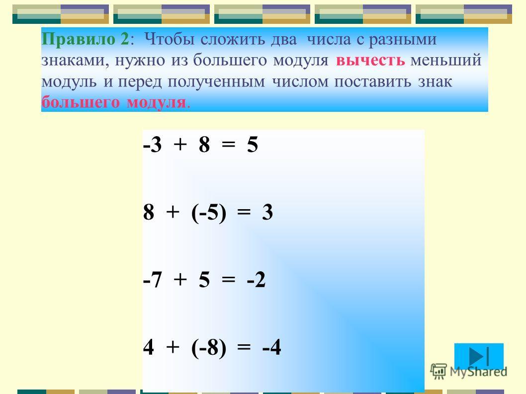 Правило 2: Чтобы сложить два числа с разными знаками, нужно из большего модуля вычесть меньший модуль и перед полученным числом поставить знак большего модуля. -3 + 8 = 5 8 + (-5) = 3 -7 + 5 = -2 4 + (-8) = -4