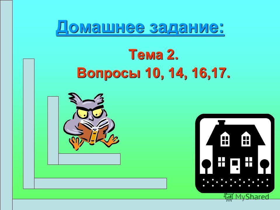 Домашнее задание: Тема 2. Вопросы 10, 14, 16,17.