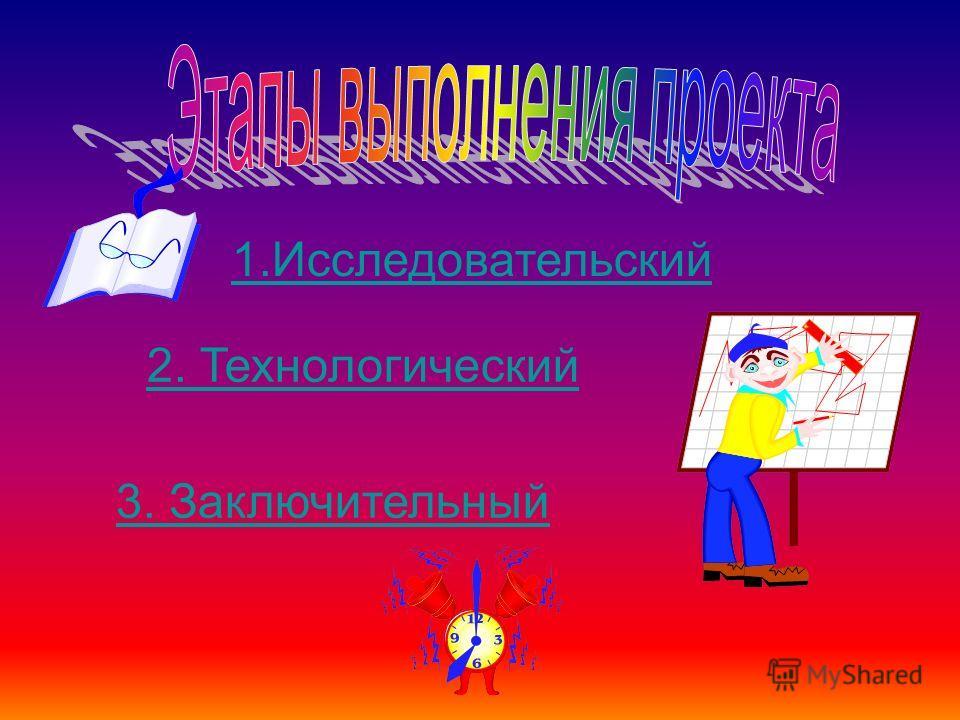 1.Исследовательский 2. Технологический 3. Заключительный