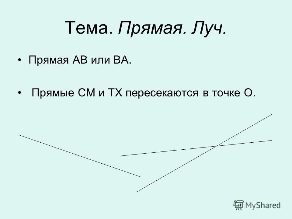 Тема. Прямая. Луч. Прямая АВ или ВА. Прямые СМ и ТХ пересекаются в точке О.