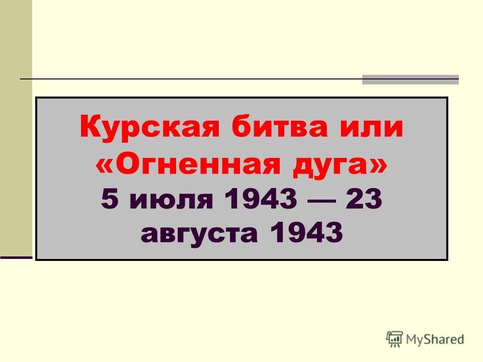 Курская битва или «Огненная дуга» 5 июля 1943 23 августа 1943