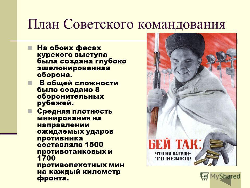 План Советского командования На обоих фасах курского выступа была создана глубоко эшелонированная оборона. В общей сложности было создано 8 оборонительных рубежей. Средняя плотность минирования на направлении ожидаемых ударов противника составляла 15