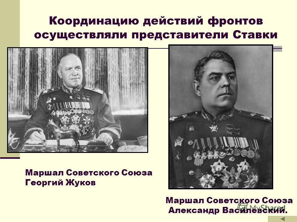 Координацию действий фронтов осуществляли представители Ставки Маршал Советского Союза Георгий Жуков Маршал Советского Союза Александр Василевский.