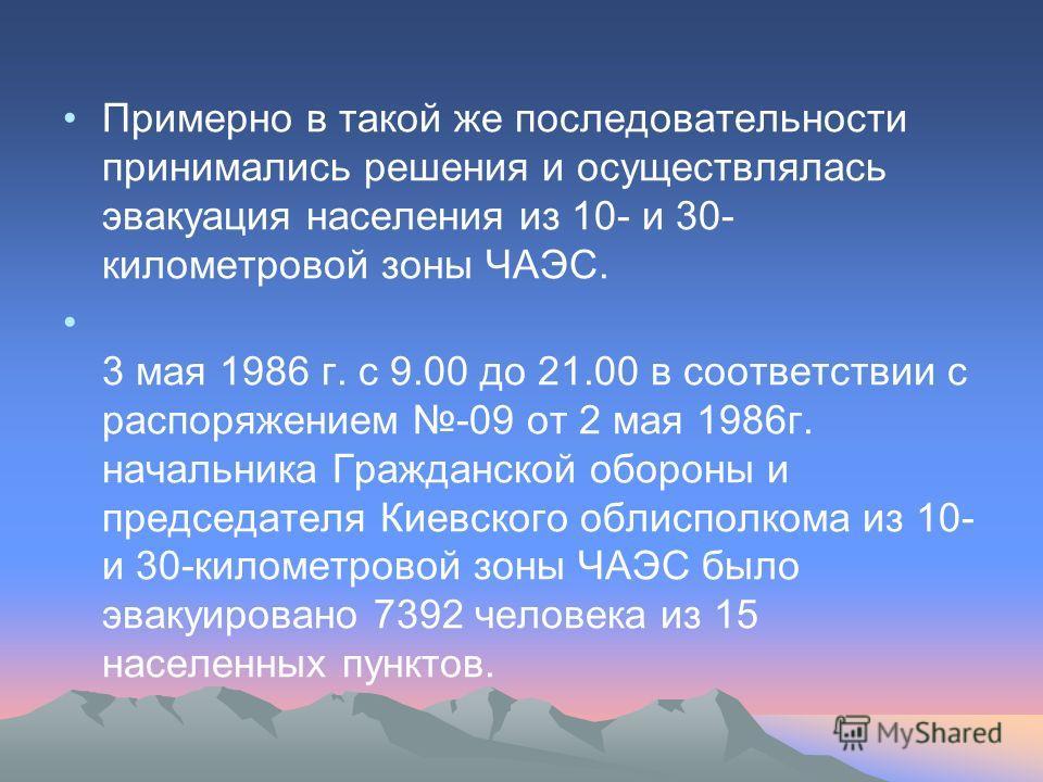 Примерно в такой же последовательности принимались решения и осуществлялась эвакуация населения из 10- и 30- километровой зоны ЧАЭС. 3 мая 1986 г. с 9.00 до 21.00 в соответствии с распоряжением -09 от 2 мая 1986г. начальника Гражданской обороны и пре