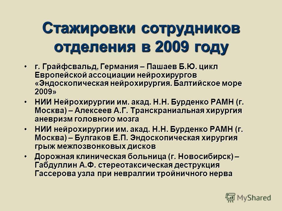 Стажировки сотрудников отделения в 2009 году г. Грайфсвальд, Германия – Пашаев Б.Ю. цикл Европейской ассоциации нейрохирургов «Эндоскопическая нейрохирургия. Балтийское море 2009»г. Грайфсвальд, Германия – Пашаев Б.Ю. цикл Европейской ассоциации нейр
