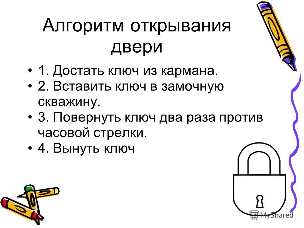 Алгоритм открывания двери 1. Достать ключ из кармана. 2. Вставить ключ в замочную скважину. 3. Повернуть ключ два раза против часовой стрелки. 4. Вынуть ключ