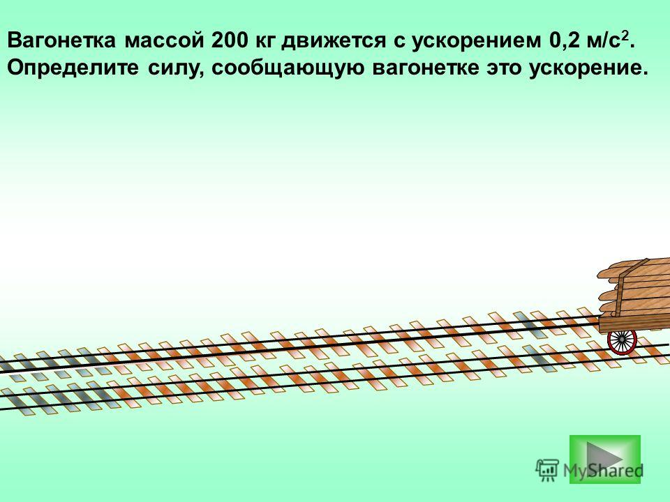 Вагонетка массой 200 кг движется с ускорением 0,2 м/с 2. Определите силу, сообщающую вагонетке это ускорение.
