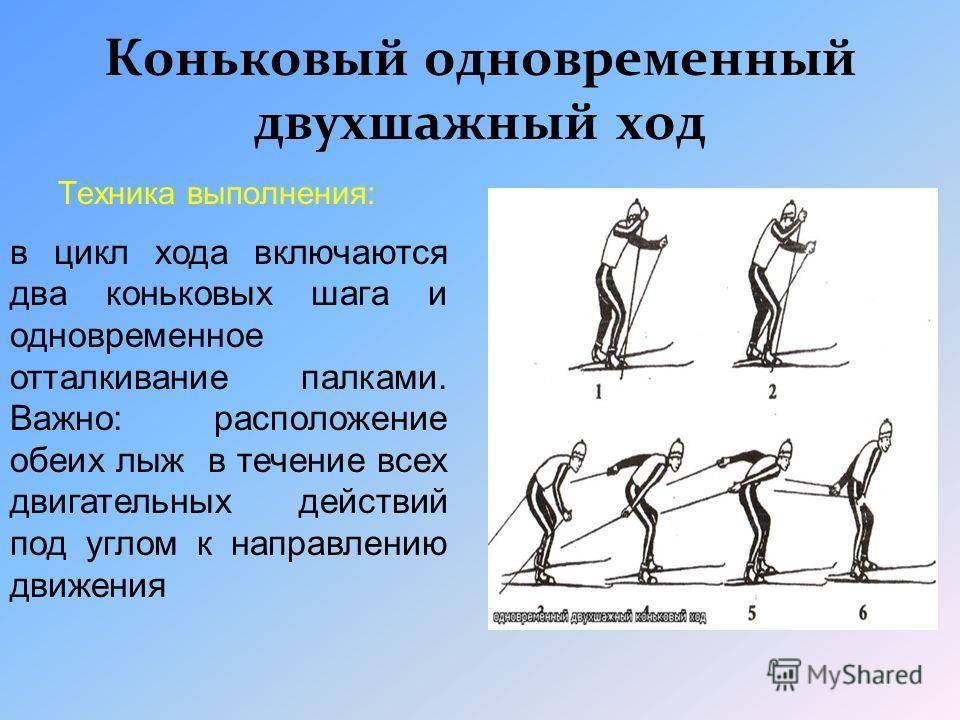 Одновременный полуконьковый ход Техника выполнения: Отталкивание многократно одной из ног по принципу попеременноко конького хода, другая скользит при этом прямолинейно