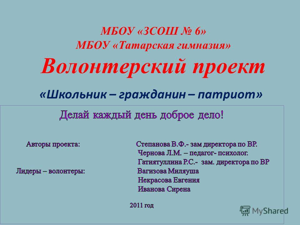 МБОУ «ЗСОШ 6» МБОУ «Татарская гимназия» Волонтерский проект «Школьник – гражданин – патриот»