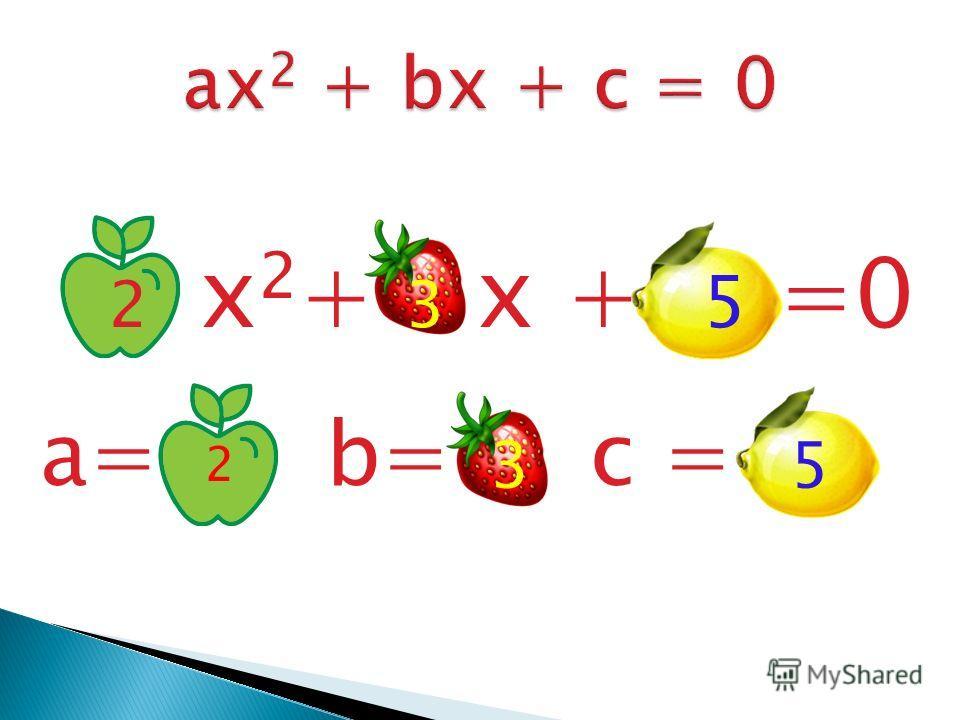 2 x 2 + 3 x + 5 =0 a= b= c = 2 35
