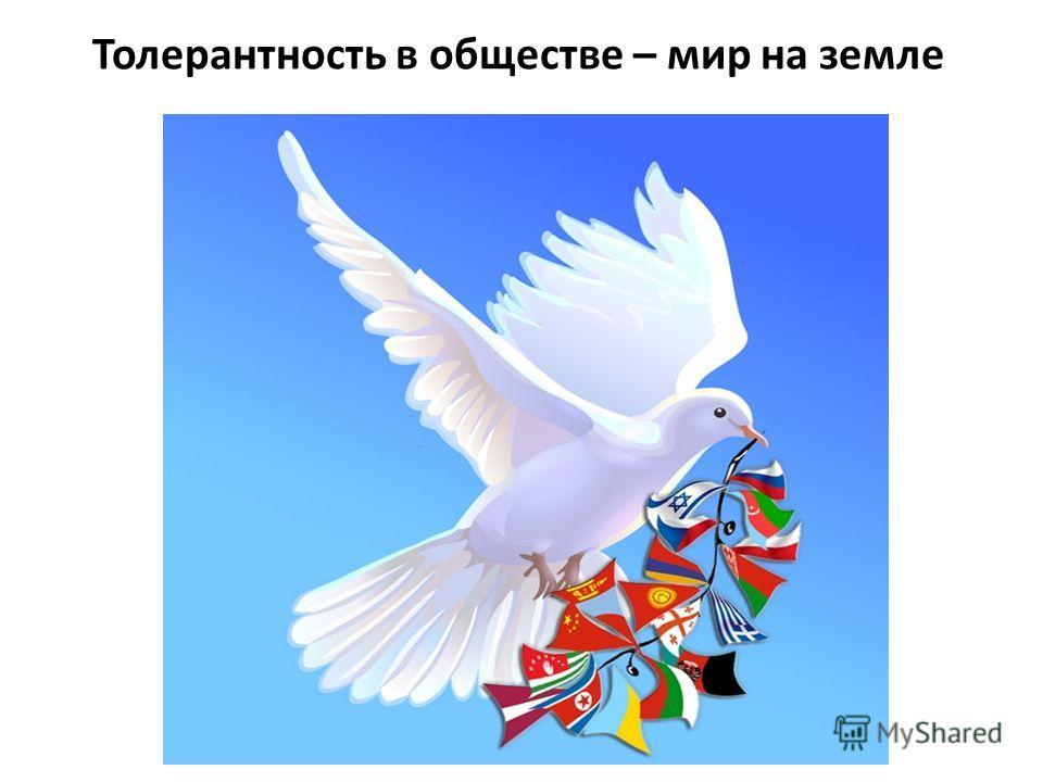 Толерантность в обществе – мир на земле