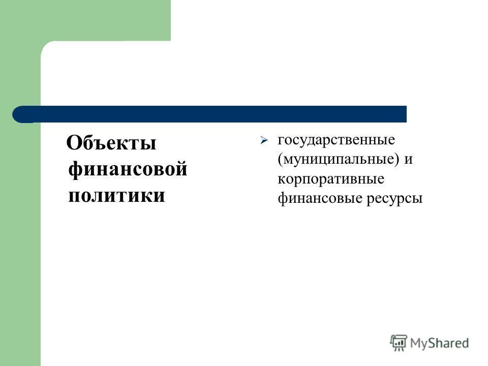 Объекты финансовой политики государственные (муниципальные) и корпоративные финансовые ресурсы