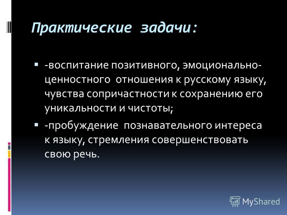 Практические задачи: -воспитание позитивного, эмоционально- ценностного отношения к русскому языку, чувства сопричастности к сохранению его уникальности и чистоты; -пробуждение познавательного интереса к языку, стремления совершенствовать свою речь.