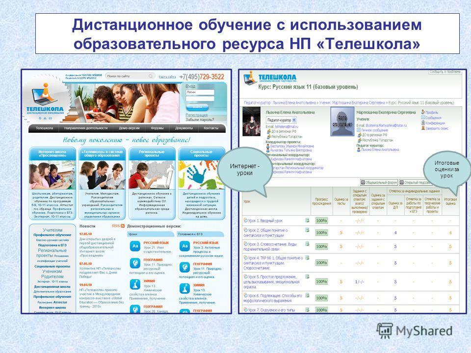 Дистанционное обучение с использованием образовательного ресурса НП «Телешкола» Интернет - уроки Итоговые оценки за урок