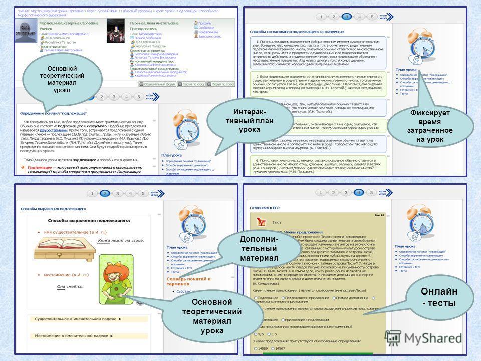 Интерак- тивный план урока Основной теоретический материал урока Дополни- тельный материал Онлайн - тесты Фиксирует время затраченное на урок