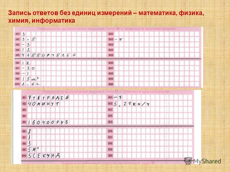 Запись ответов без единиц измерений – математика, физика, химия, информатика