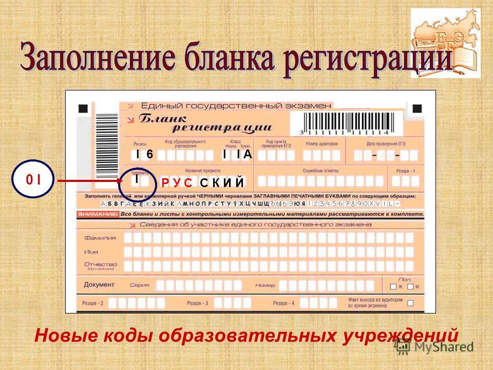 Р У С С К И Й I 6 I 6 I I I А 0 I Новые коды образовательных учреждений