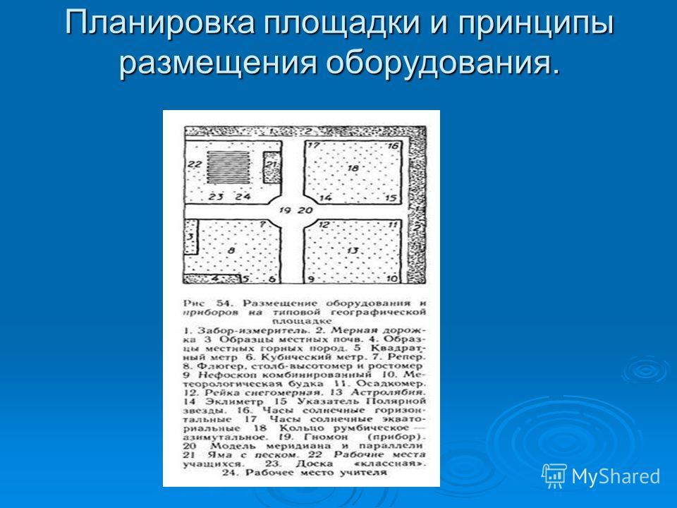 Планировка площадки и принципы размещения оборудования.