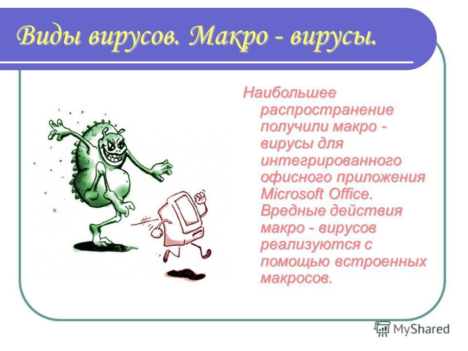 Виды вирусов. Макро - вирусы. Наибольшее распространение получили макро - вирусы для интегрированного офисного приложения Microsoft Office. Вредные действия макро - вирусов реализуются с помощью встроенных макросов.