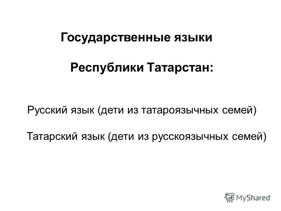 Государственные языки Республики Татарстан: Русский язык (дети из татароязычных семей) Татарский язык (дети из русскоязычных семей)