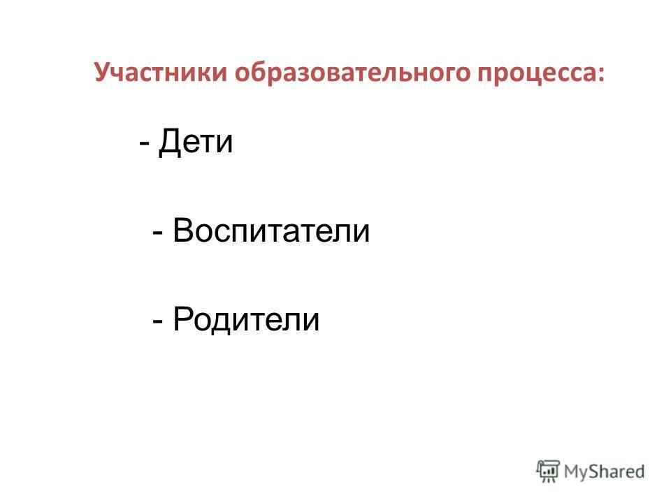 Участники образовательного процесса: - Дети - Воспитатели - Родители