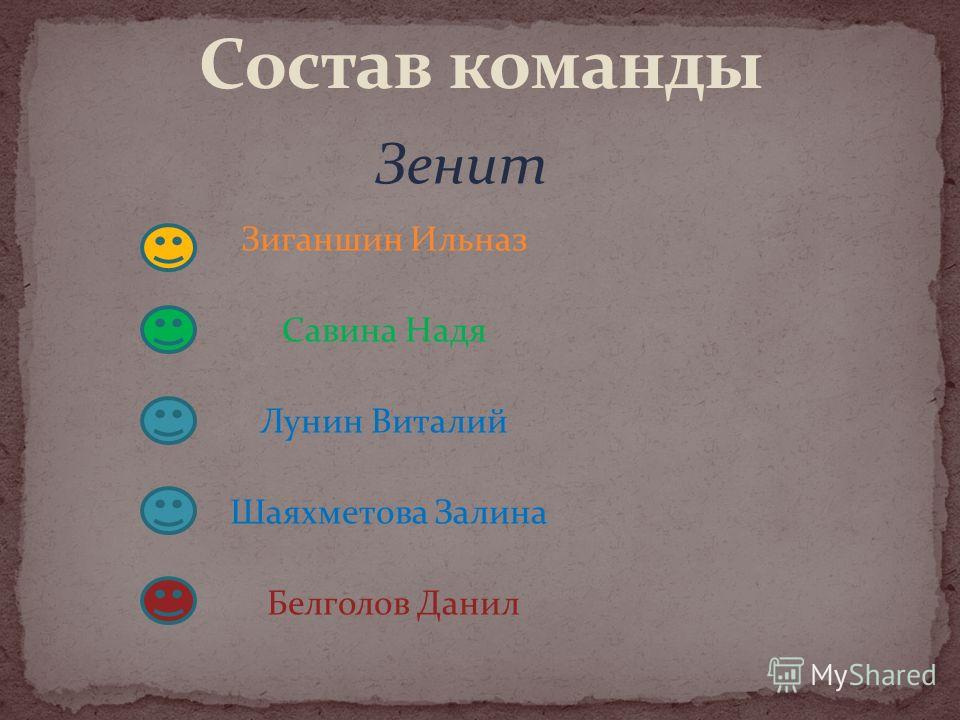 Зиганшин Ильназ Савина Надя Лунин Виталий Шаяхметова Залина Белголов Данил Зенит