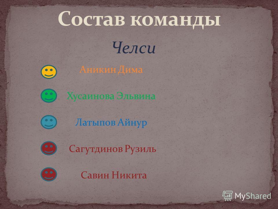 Аникин Дима Хусаинова Эльвина Латыпов Айнур Сагутдинов Рузиль Савин Никита Челси