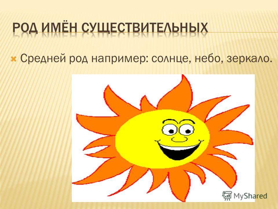 Средней род например: солнце, небо, зеркало.