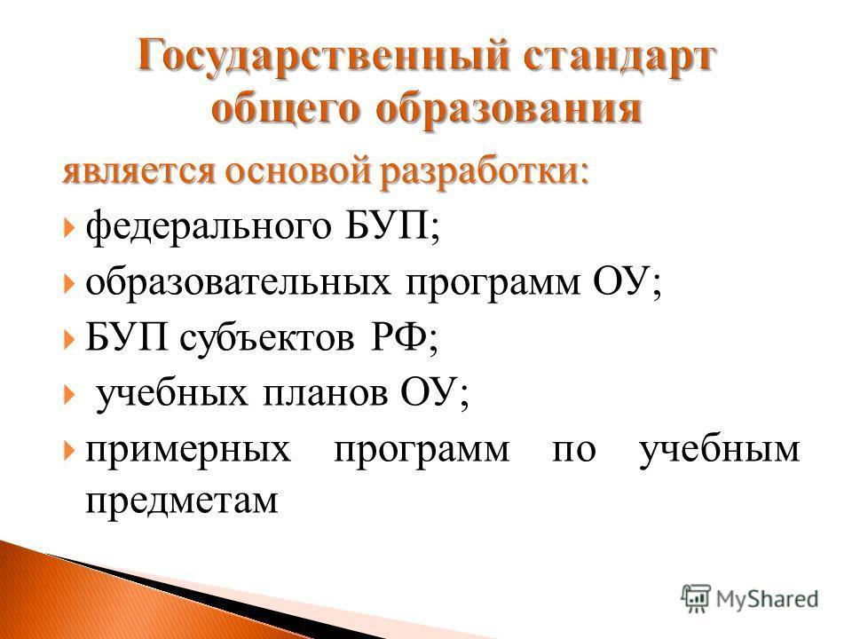 является основой разработки: федерального БУП; образовательных программ ОУ; БУП субъектов РФ; учебных планов ОУ; примерных программ по учебным предметам