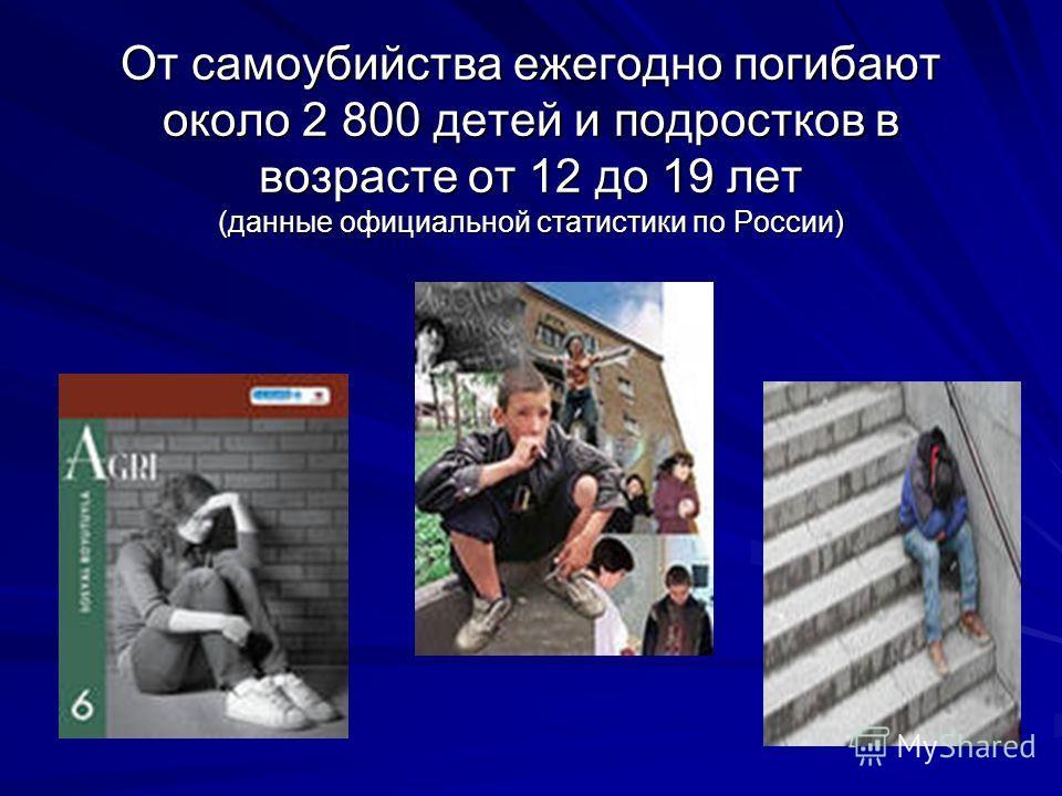 От самоубийства ежегодно погибают около 2 800 детей и подростков в возрасте от 12 до 19 лет (данные официальной статистики по России)