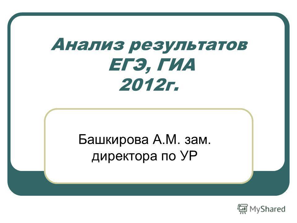 Анализ результатов ЕГЭ, ГИА 2012г. Башкирова А.М. зам. директора по УР