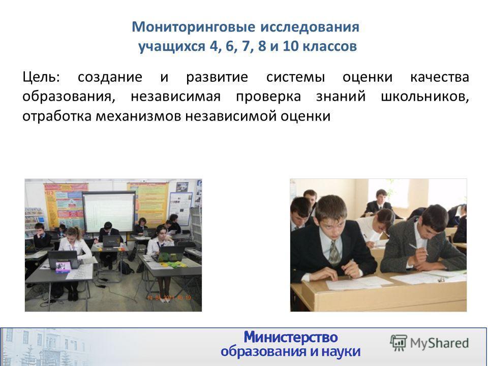 Мониторинговые исследования учащихся 4, 6, 7, 8 и 10 классов Цель: создание и развитие системы оценки качества образования, независимая проверка знаний школьников, отработка механизмов независимой оценки
