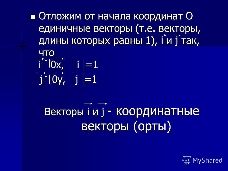 Отложим от начала координат О единичные векторы (т.е. векторы, длины которых равны 1), i и j так, что i 0 0 0 0х, i =1 j 0 0y, j j =1 Векторы i и j - координатные векторы (орты)