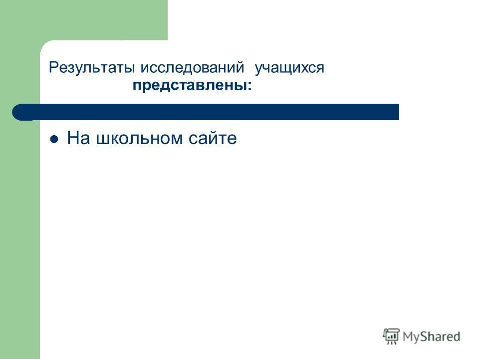 Результаты исследований учащихся представлены: На школьном сайте