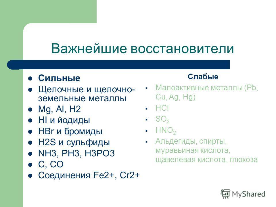 Важнейшие восстановители Сильные Щелочные и щелочно- земельные металлы Mg, Al, H2 HI и йодиды HBr и бромиды H2S и сульфиды NH3, PH3, H3PO3 C, CO Соединения Fe2+, Cr2+ Слабые Малоактивные металлы (Pb, Cu, Ag, Hg) HCl SO 2 HNO 2 Альдегиды, спирты, мура