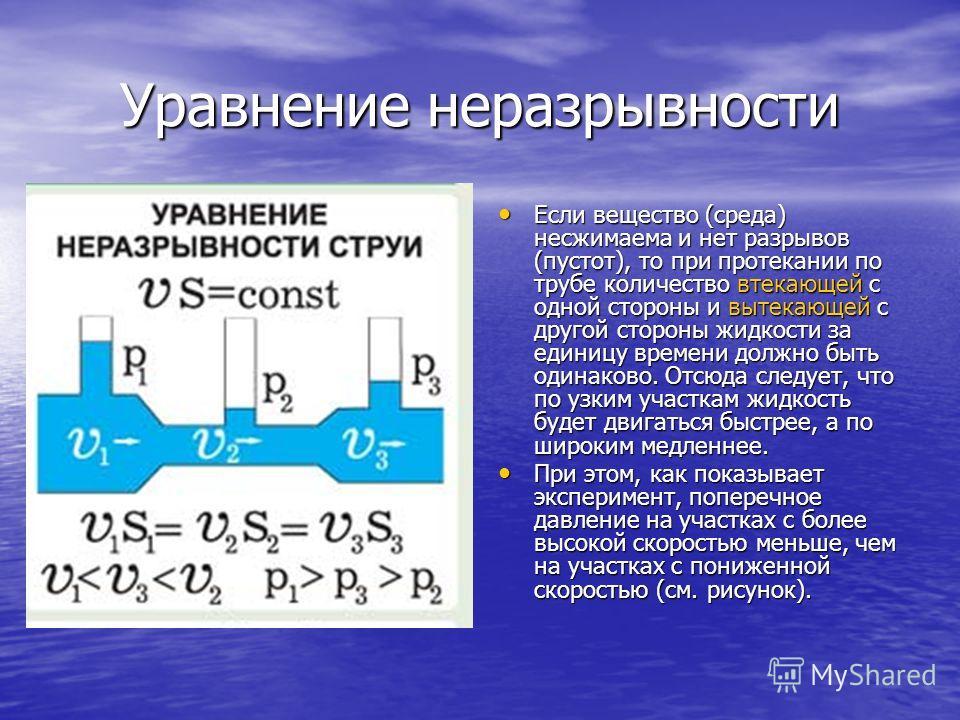 Уравнение неразрывности Если вещество (среда) несжимаема и нет разрывов (пустот), то при протекании по трубе количество втекающей с одной стороны и вытекающей с другой стороны жидкости за единицу времени должно быть одинаково. Отсюда следует, что по