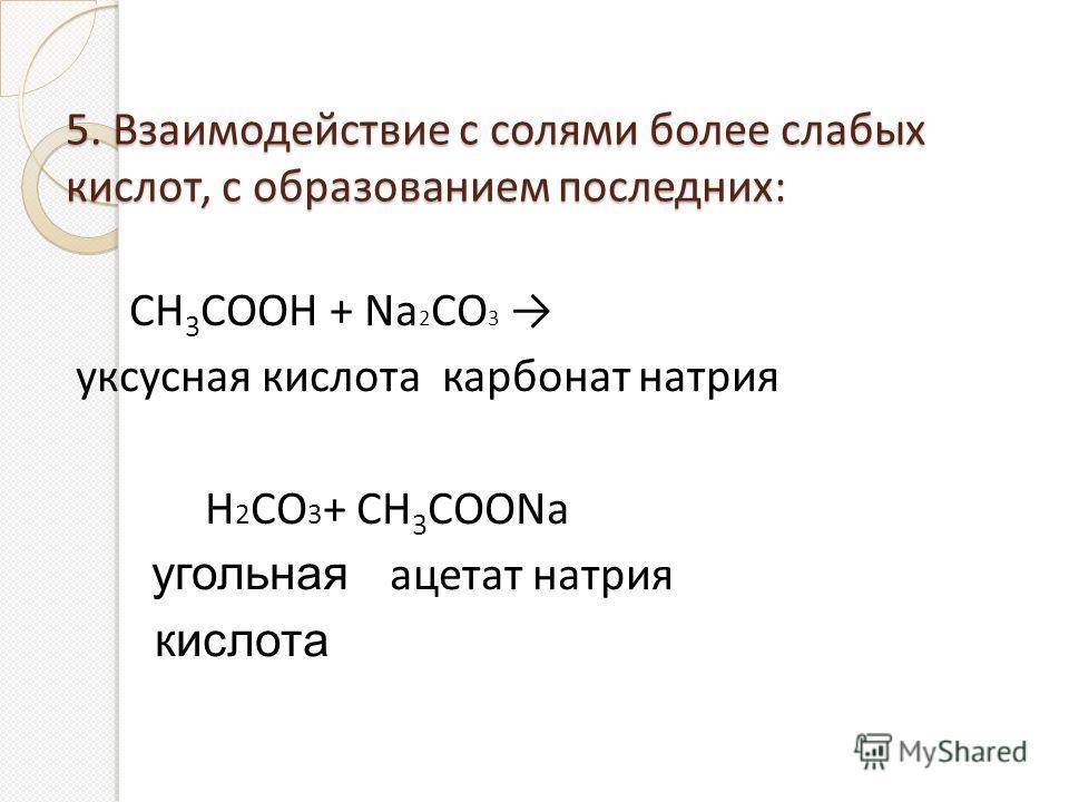 5. Взаимодействие с солями более слабых кислот, с образованием последних: СН 3 СООН + Na 2 СО 3 уксусная кислота карбонат натрия Н 2 СО 3 + CH 3 COONa угольная ацетат натрия кислота