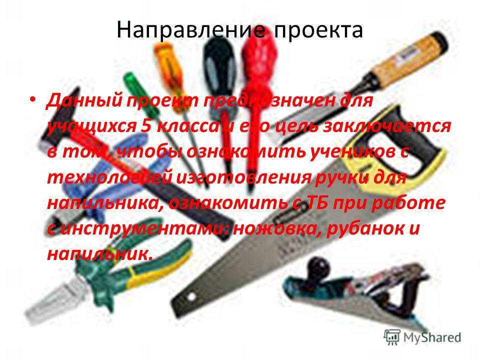 Направление проекта Данный проект предназначен для учащихся 5 класса и его цель заключается в том, чтобы ознакомить учеников с технологией изготовления ручки для напильника, ознакомить с ТБ при работе с инструментами: ножовка, рубанок и напильник.