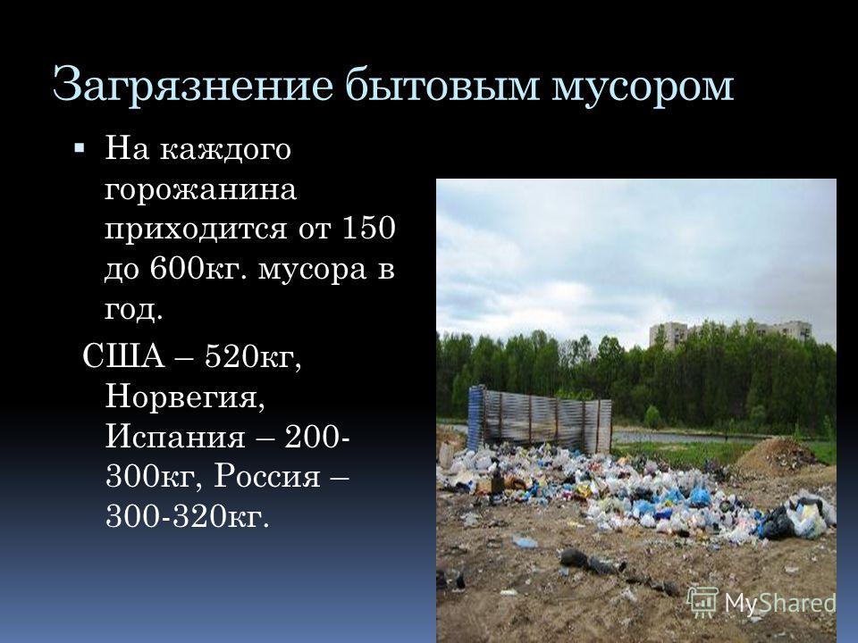 Загрязнение бытовым мусором На каждого горожанина приходится от 150 до 600кг. мусора в год. США – 520кг, Норвегия, Испания – 200- 300кг, Россия – 300-320кг.