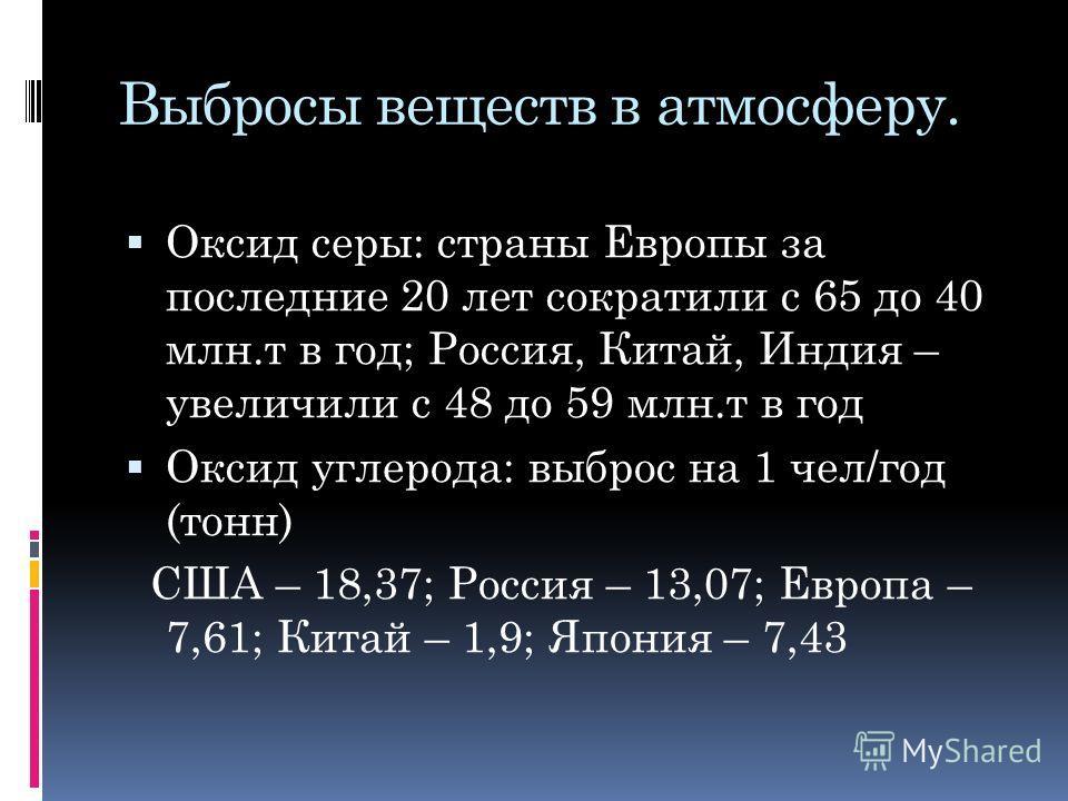 Выбросы веществ в атмосферу. Оксид серы: страны Европы за последние 20 лет сократили с 65 до 40 млн.т в год; Россия, Китай, Индия – увеличили с 48 до 59 млн.т в год Оксид углерода: выброс на 1 чел/год (тонн) США – 18,37; Россия – 13,07; Европа – 7,61