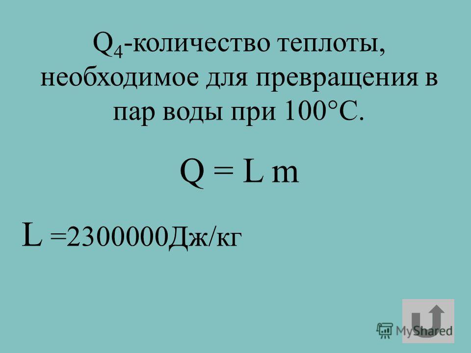 Q 4 -количество теплоты, необходимое для превращения в пар воды при 100°C. Q = L m L =2300000Дж/кг