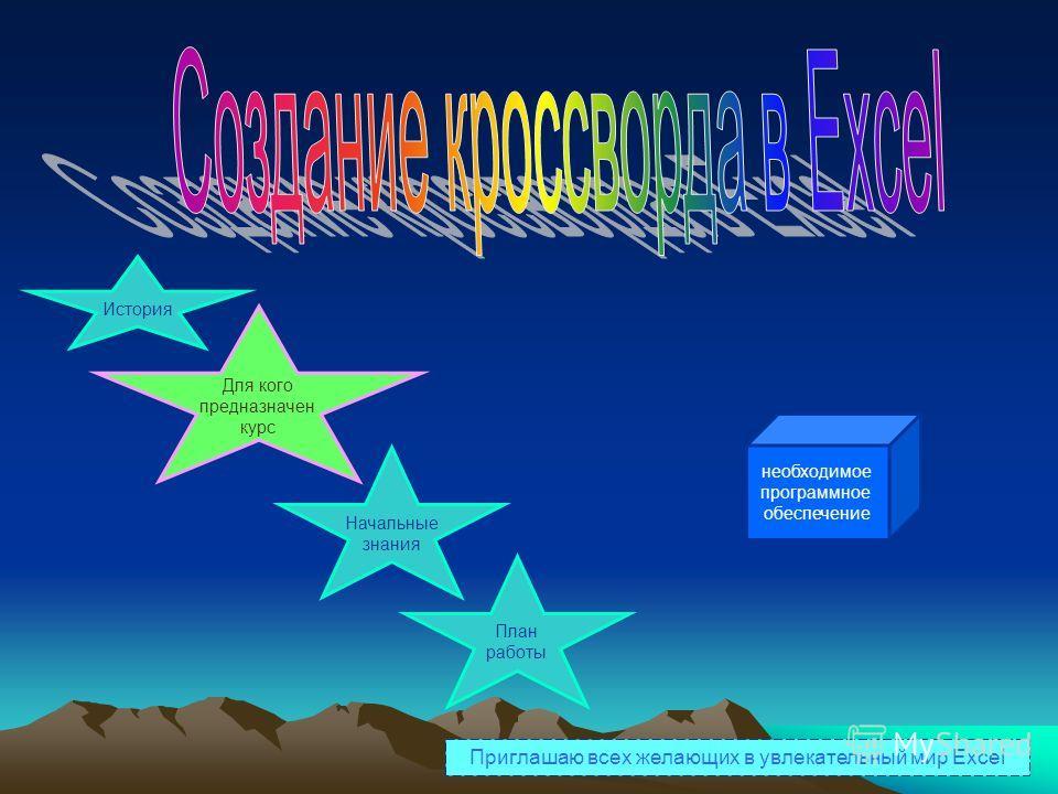 История Для кого предназначен курс Начальные знания План работы необходимое программное обеспечение Приглашаю всех желающих в увлекательный мир Excel