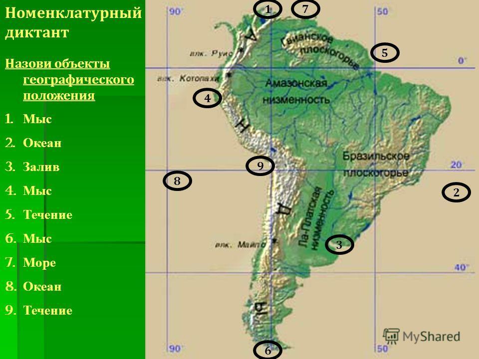 Назови объекты географического положения 1. Мыс 2. Океан 3. Залив 4. Мыс 5. Течение 6. Мыс 7. Море 8. Океан 9. Течение 1 4 6 3 7 8 2 9 5 Номенклатурный диктант