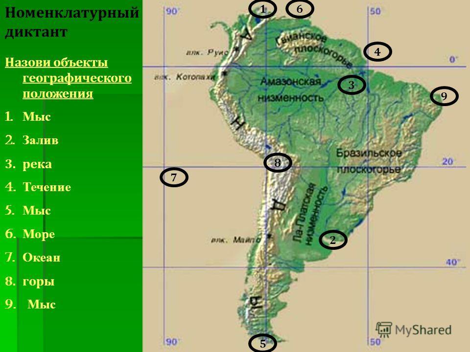 Назови объекты географического положения 1. Мыс 2. Залив 3.река 4. Течение 5. Мыс 6. Море 7. Океан 8.горы 9. Мыс 1 3 9 5 2 6 7 8 4 Номенклатурный диктант