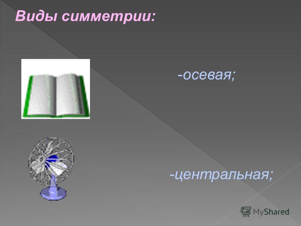 Виды симметрии: -центральная; -осевая;