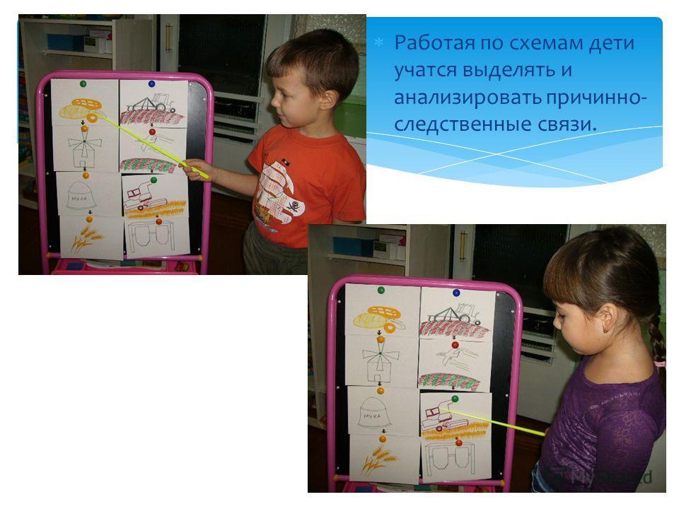 Работая по схемам дети учатся выделять и анализировать причинно- следственные связи.